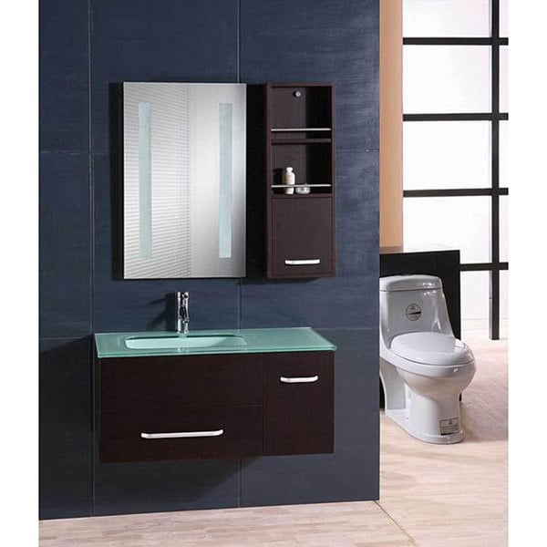 Design Element Milan Modern Wall Mount Single Vanity Set