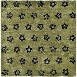 Safavieh Handmade Soho Leaves Sage New Zealand Wool Rug (9'6 x 13'6)