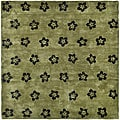 Handmade Soho Leaves Sage New Zealand Wool Rug (9'6 x 13'6)