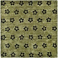 Handmade Soho Leaves Sage New Zealand Wool Rug (5' x 8')