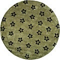 Handmade Soho Leaves Sage New Zealand Wool Rug (6' Round)