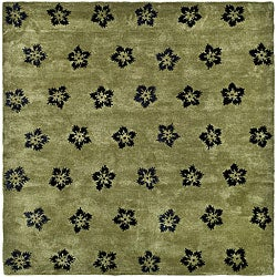 Handmade Soho Leaves Sage New Zealand Wool Rug (7'6 x 9'6)