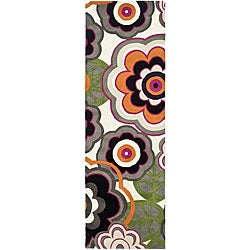 Handmade Flower Power Ivory/ Multi N. Z. Wool Runner (2'6 x 8)