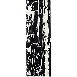 Safavieh Handmade Soho Deco Black/ White N. Z. Wool Runner (2'6 x 10')