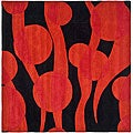 Handmade Soho Flora Black/ Red New Zealand Wool Rug (6' Square)