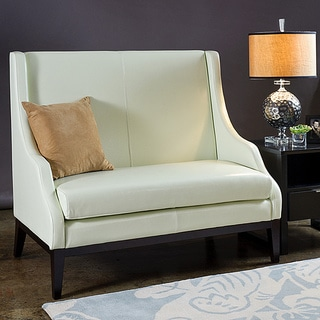 Lummi Off White Leather High Back Loveseat