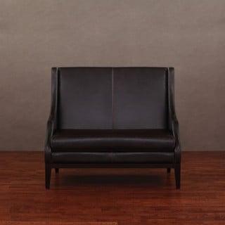 Lummi Dark Brown Leather High-back Loveseat