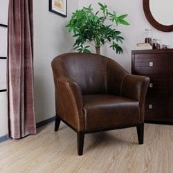 Tivoli Dark Brown Leather Arm Chair