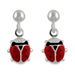 Journee Collection Sterling Silver Child's Red Ladybug Dangling Earrings
