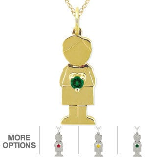 10k Gold Birthstone 'Little Boy' Designer Necklace
