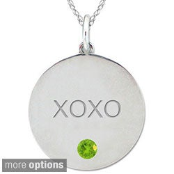10k Gold Gemstone Engraved 'XOXO' Necklace