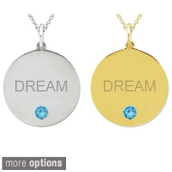 10k Gold Birthstone Engraved 'DREAM' Designer Necklace