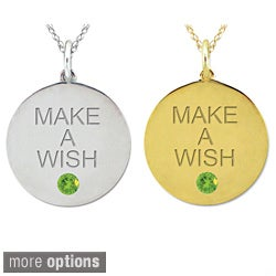 10k Gold Birthstone Engraved 'MAKE A WISH' Necklace