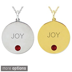 10k Gold Birthstone Engraved 'JOY' Necklace