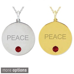 10k Gold Birthstone Engraved 'PEACE' Necklace