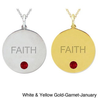 10k Gold Birthstone Engraved 'FAITH' Necklace