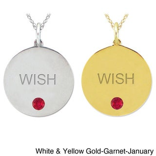 10k Gold Birthstone Engraved 'WISH' Necklace