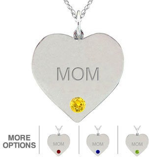 10k Gold Birthstone Engraved 'MOM' Heart Necklace