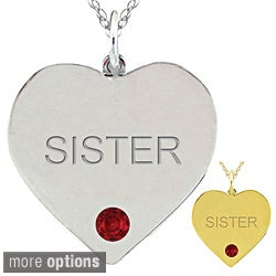 10k Gold Birthstone Engraved 'SISTER' Heart Necklace