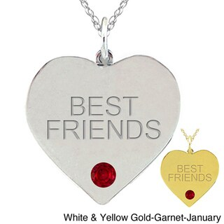 10k Gold Birthstone 'BEST FRIENDS' Heart Necklace