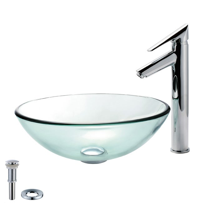 Kraus Bathroom Combo Set Clear Glass Vessel Sink/ Decus Faucet ...