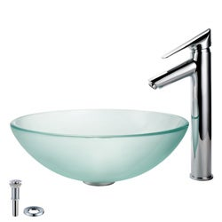 Kraus Bathroom Combo SetFrosted Glass Vessel Sink and Decus Faucet