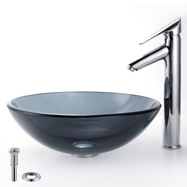 Kraus Bathroom Combo Set Black Vessel Sink and Decus Faucet