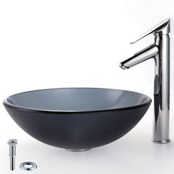Kraus Bathroom Combo Set Frosted Black Glass Sink and Decus Faucet