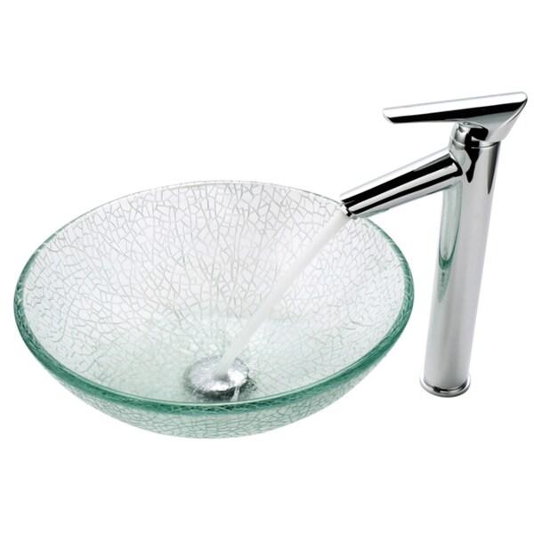 Kraus Bathroom Combo Set Broken Glass Sink and Decus Faucet