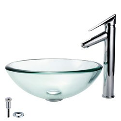 Kraus Bathroom Combo Set Glass Vessel Sink and Decus Faucet