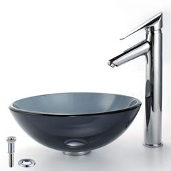 Kraus Bathroom Combo Set 14-inch Clear Black Glass Vessel Sink with Faucet