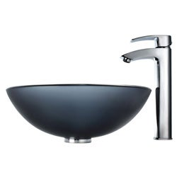 Kraus Bathroom Combo Set Frosted Black Glass Sink with Faucet