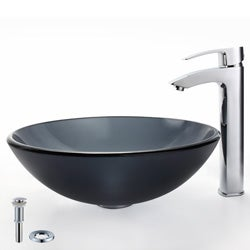 Kraus Frosted Black Glass Sink and Visio Bathroom Faucet
