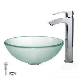 Kraus Frosted Glass Pop-Up Drain Sink and Visio Bathroom Faucet