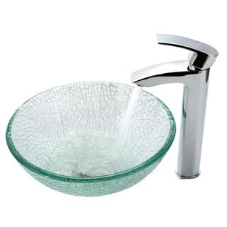 Kraus Bathroom Combo Set Broken 14-inch Glass Sink with Faucet
