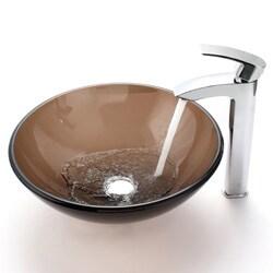 Kraus Visio Bathroom Vessel Sink Faucet with Chrome Pop-up Drain