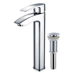 Kraus Visio Bathroom Vessel Sink Faucet with Chrome Pop-up Drain