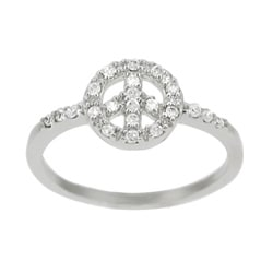 Tressa Sterling Silver Clear CZ Peace Sign Ring