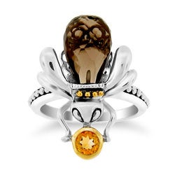 Meredith Leigh Silver Smokey Quartz and Citrine 'Critters' Bee Ring
