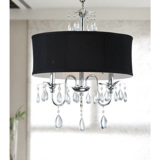Chrome 3-light Black Shade Crystal Chandelier