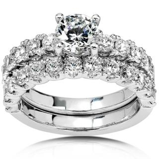 Annello 18k Gold 2 3/4ct TDW Diamond Bridal Ring Set (G-J, SI)