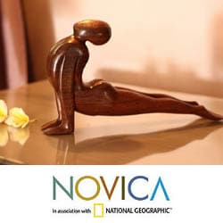Wood 'Yoga Cobra Pose' Sculpture (Indonesia)