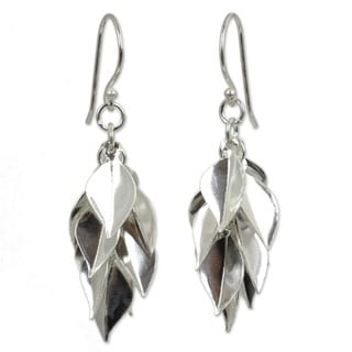Sterling Silver 'Silver Leaves' Cluster Earrings (Thailand)