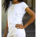 Cotton 'Side Cinch White' Tunic Blouse (Indonesia)