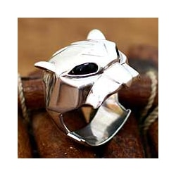Sterling Silver 'Jaguar' Men's Onyx Ring (Indonesia)