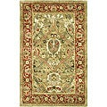 Handmade Mahal Green/ Rust New Zealand Wool Rug (2' x 3')