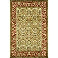 Handmade Mahal Green/ Rust New Zealand Wool Rug (4' x 6')