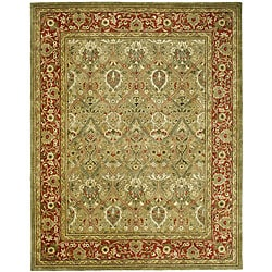 Handmade Mahal Green/ Rust New Zealand Wool Rug (5' x 8')