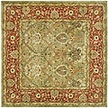 Handmade Mahal Green/ Rust New Zealand Wool Rug (6' Square)