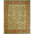 Handmade Mahal Green/ Rust New Zealand Wool Rug (7'6 x 9'6)